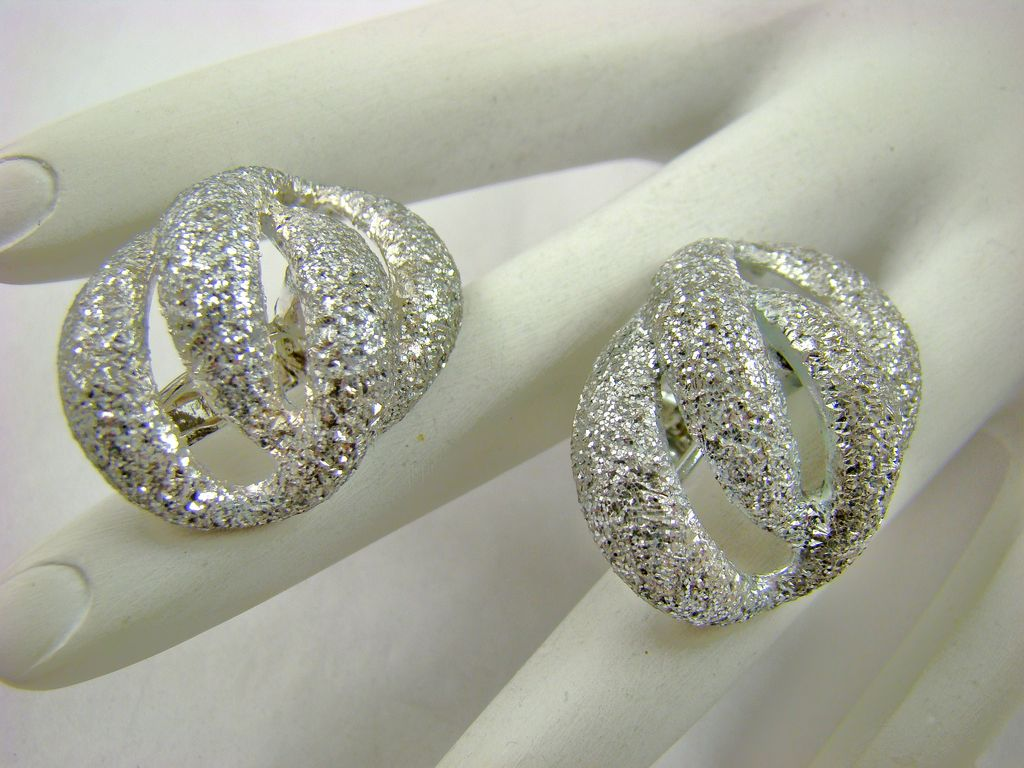 Goldette Glitter Look Silvertone Earrings