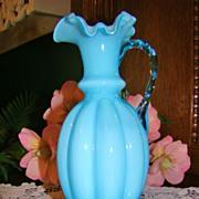 """Circa 40s Fenton Blue Overlay 9"""" Jug ~ #192A"""