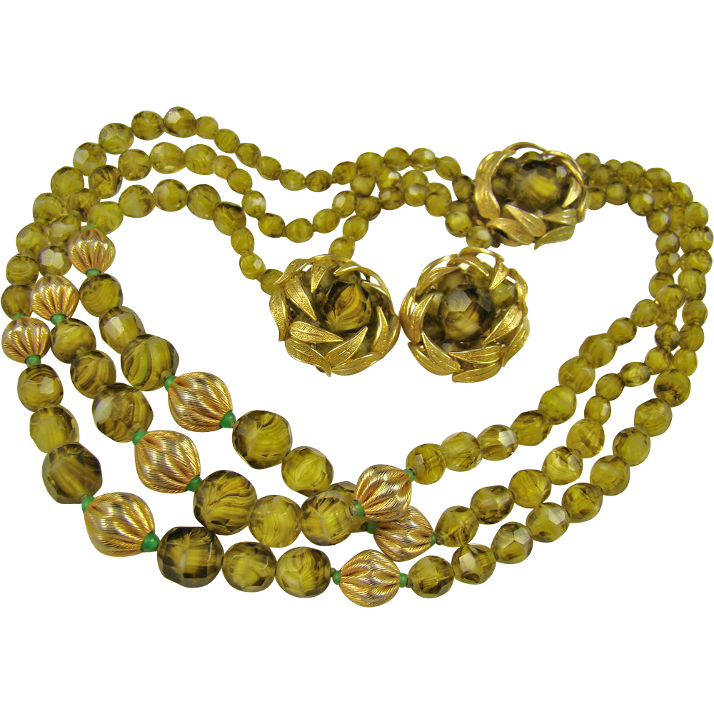 SALE Stunning Eugene Olivine Givre Glass Art Bead and Brushed Gold Tone Demi Parure