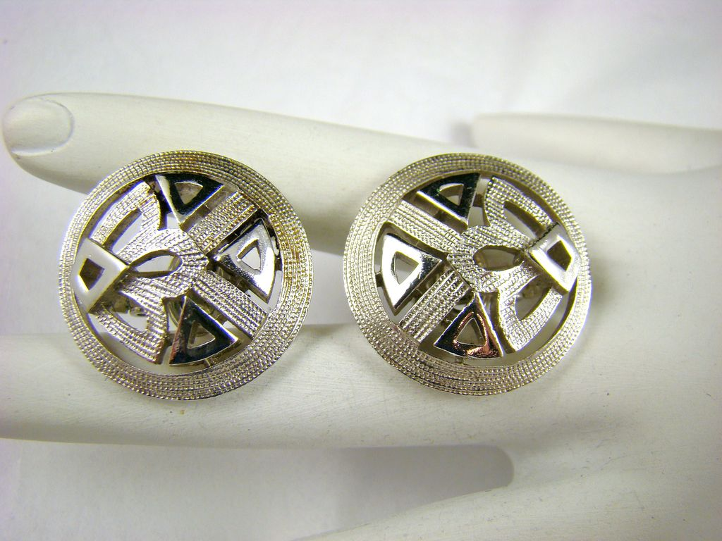 Crown Trifari Modern Silvertone Earrings