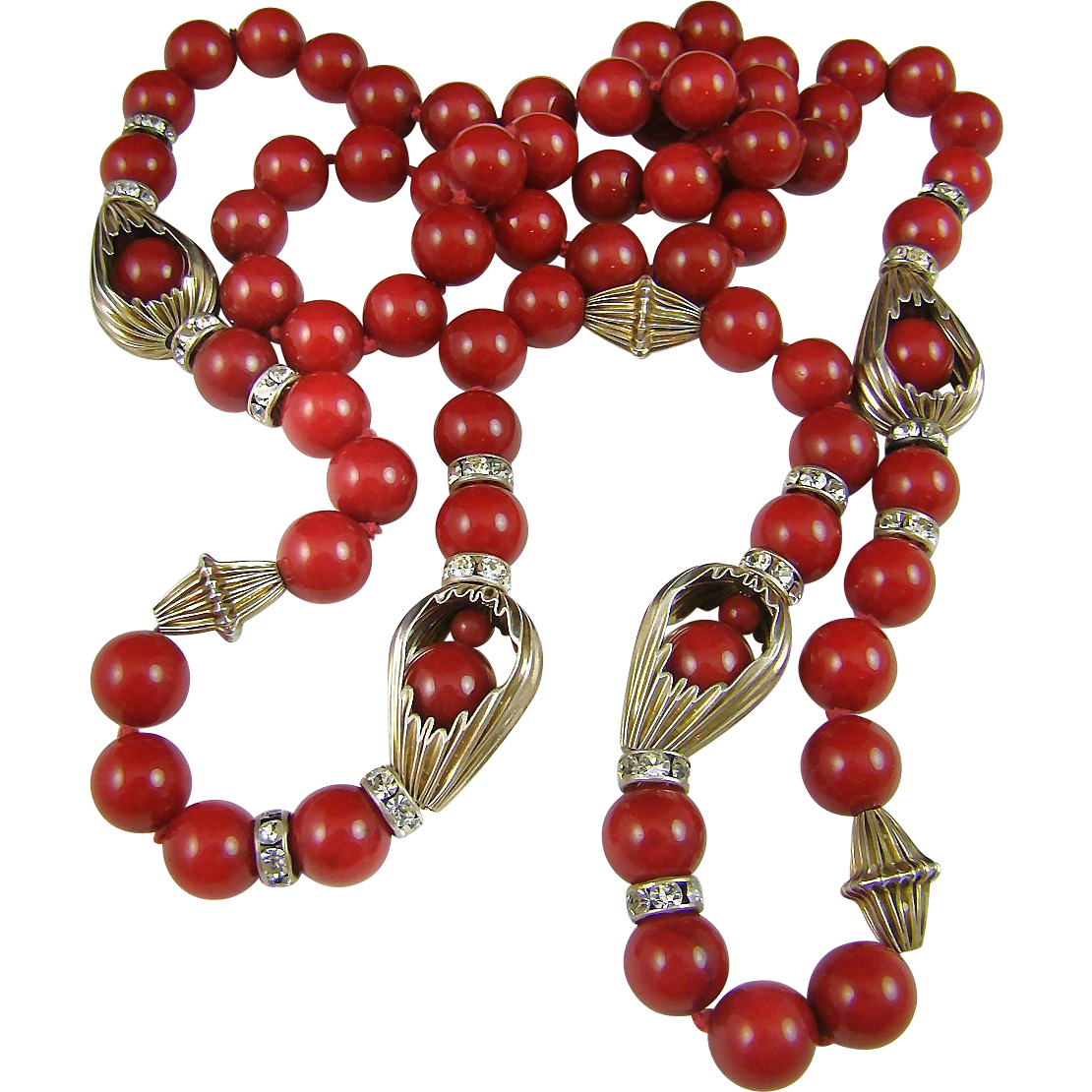 Top Drawer ~   Red Glass Bead and Rhinestone Necklace