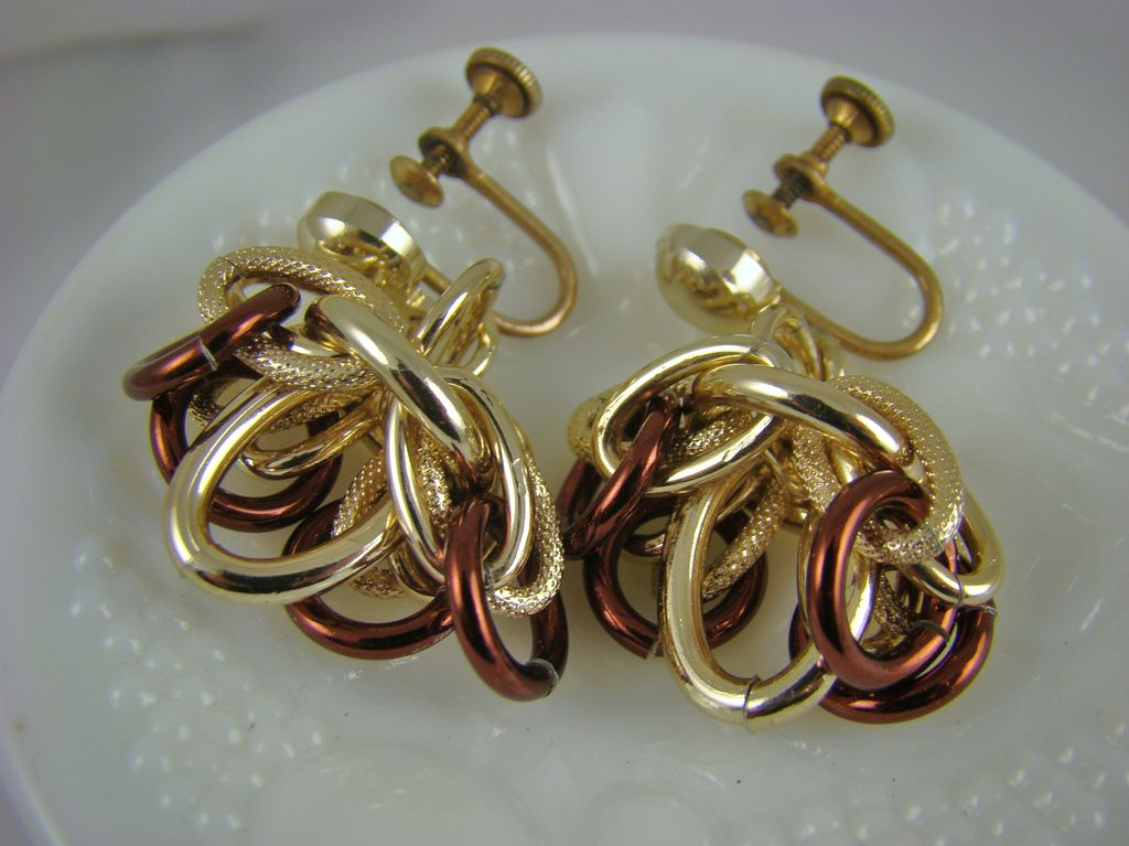 Eloxal Aluminum Gold Tone Dangle Earrings signed Germany