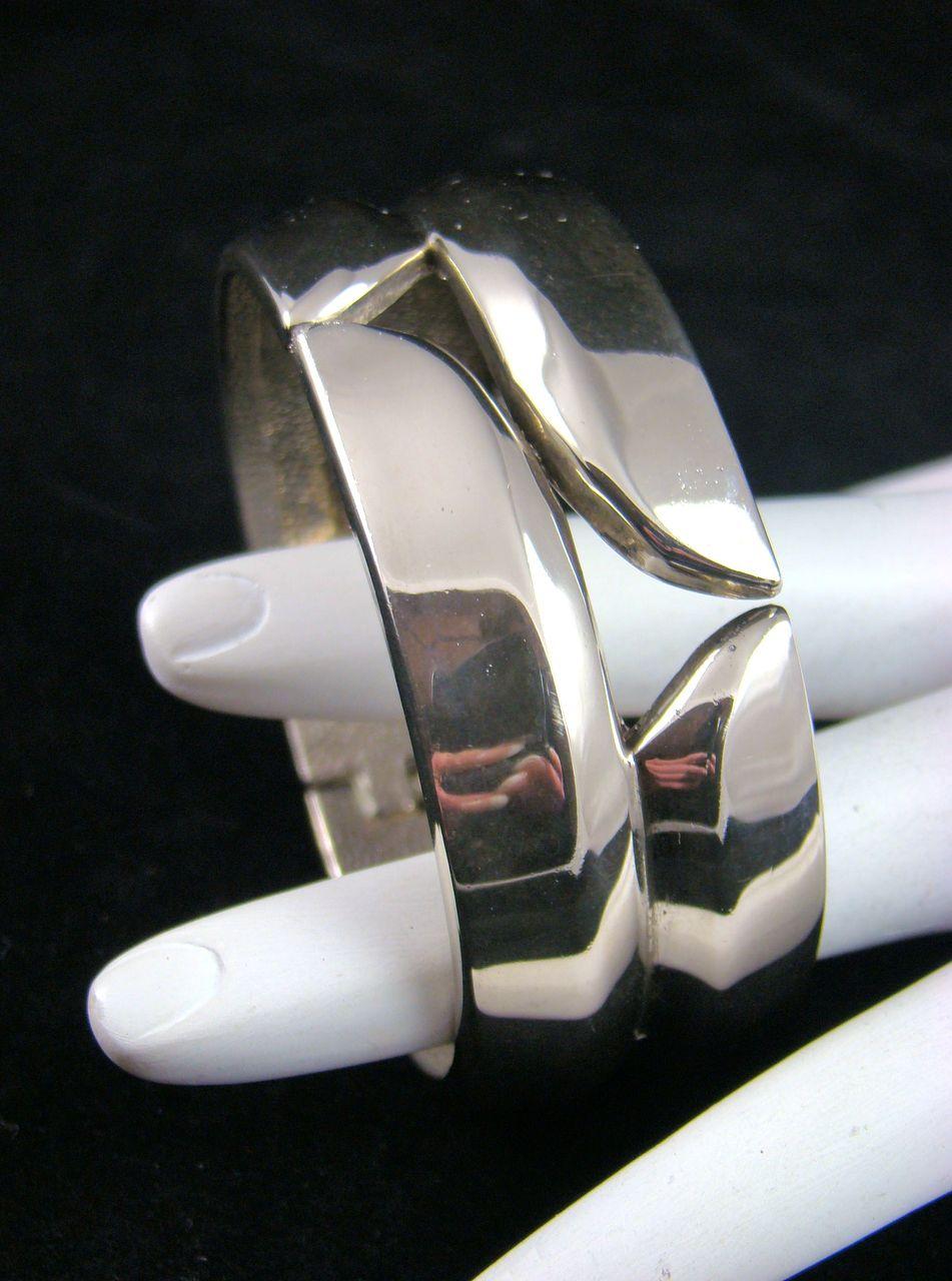 SALE Polished Silvertone Clamper Bracelet