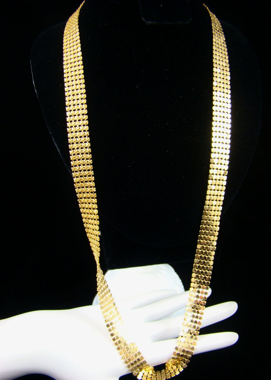 Bright Gold Tone Mesh Necklace