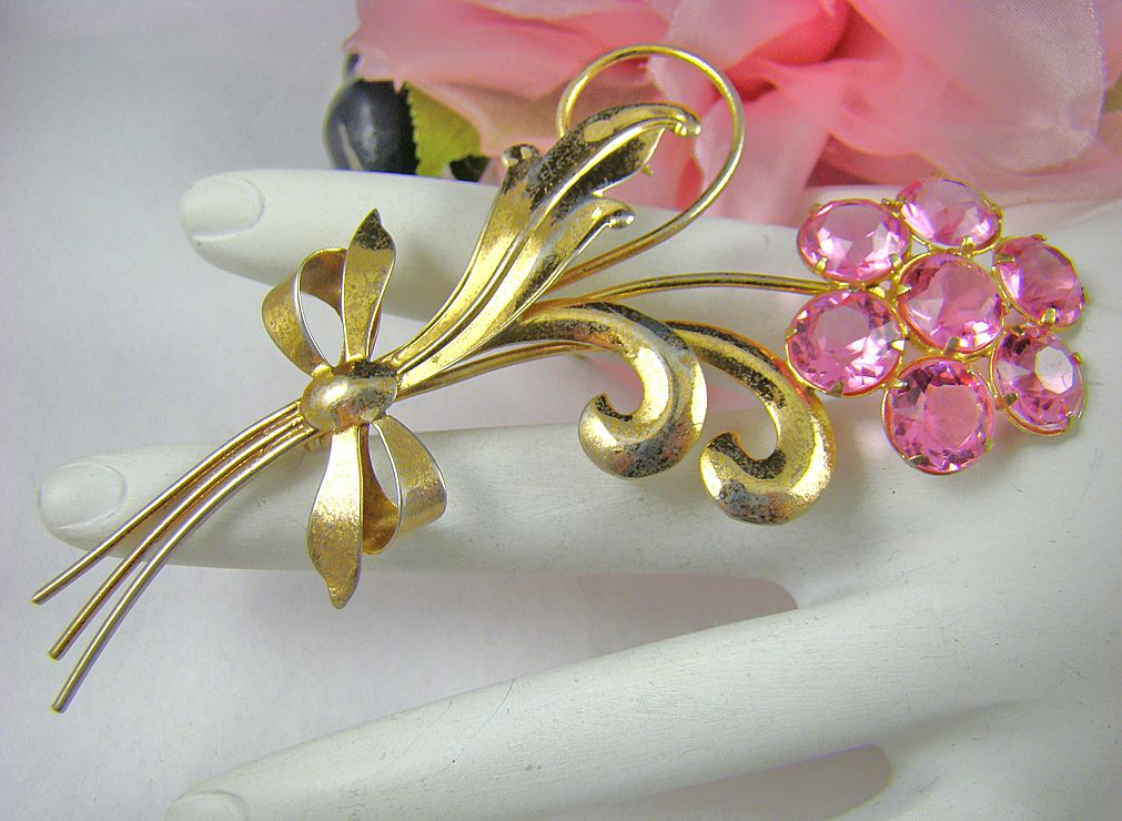 Art Deco Wilcox Sterling Pink Rhinestone Floral Brooch