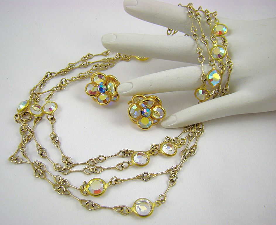 Stunning Unsigned Swarovski Aurora Borealis Crystal Bezel Necklace and Earrings