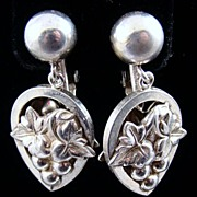 Napier Sterling Grapes and Leaves Earrings