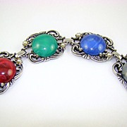 Marbled Lucite Cabochon Bracelet with Imitation Pearls