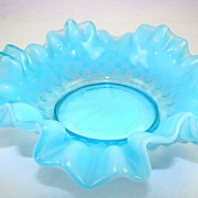 Fenton Double Crimped Hobnail Blue Opalescent Bon Bon
