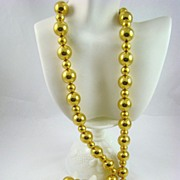 Anne Klein Bold Gold Tone Bead Necklace