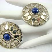 Ellen Designs Silver Tone Sunburst Blue Lapis Earrings