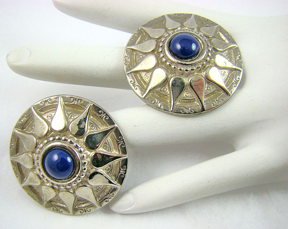 Ellen Designs Silver Tone Sunburst Blue Lapis Earrings
