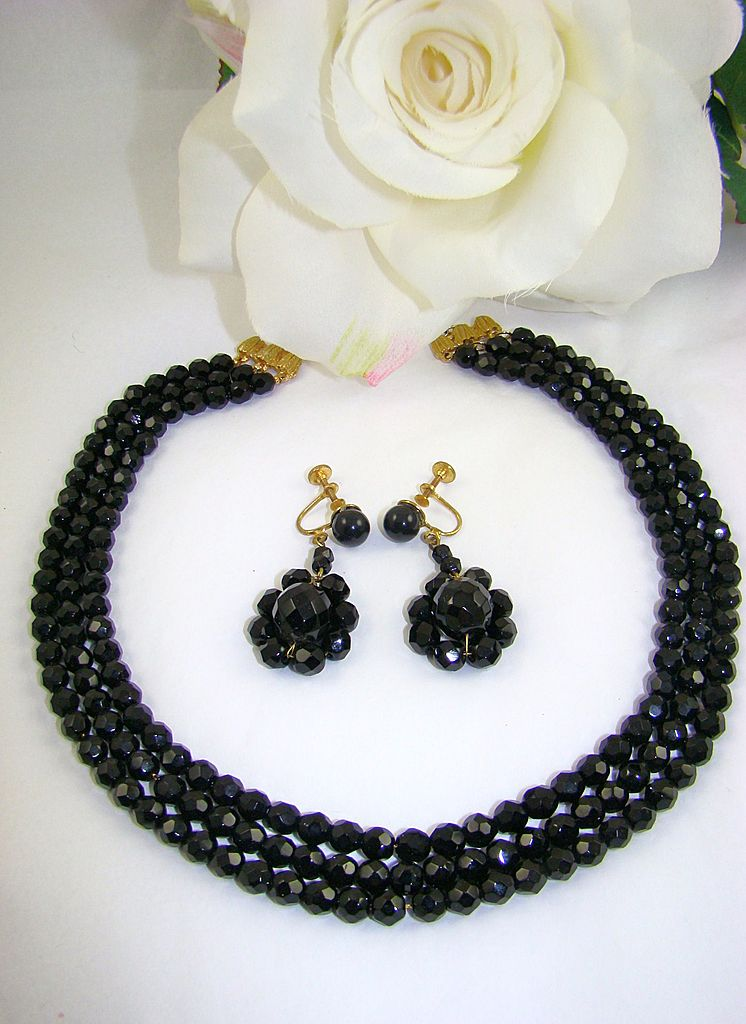 Elegant Black Glass  Demi Parure