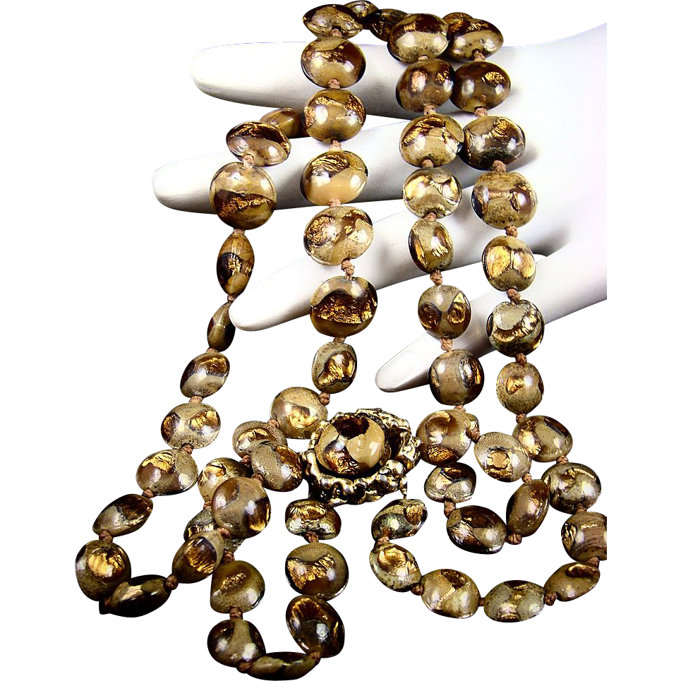 Vogue Lampwork Gold Foil Bead Necklace