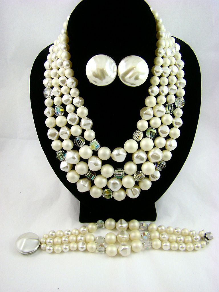 "Circa 60s ""Mad Men"" Imitation Baroque Pearl and Aurora Borealis Bead Parure"