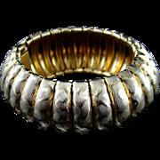 1970s Rare Napier Caterpillar Cuff Gold Tone Bracelet