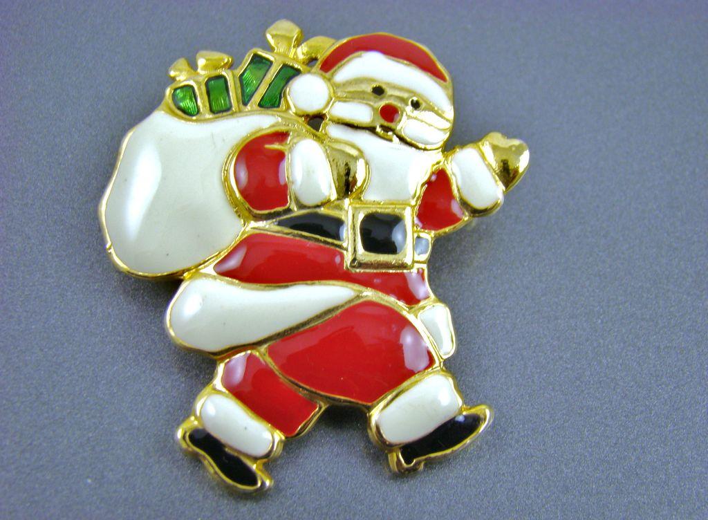 Santa claus enamel brooch from vintageveranda on ruby lane
