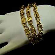 Gold Tone Triple Strand Link Bracelet