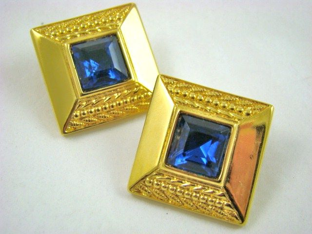 Sapphire Colored Crystal Dinner Earrings