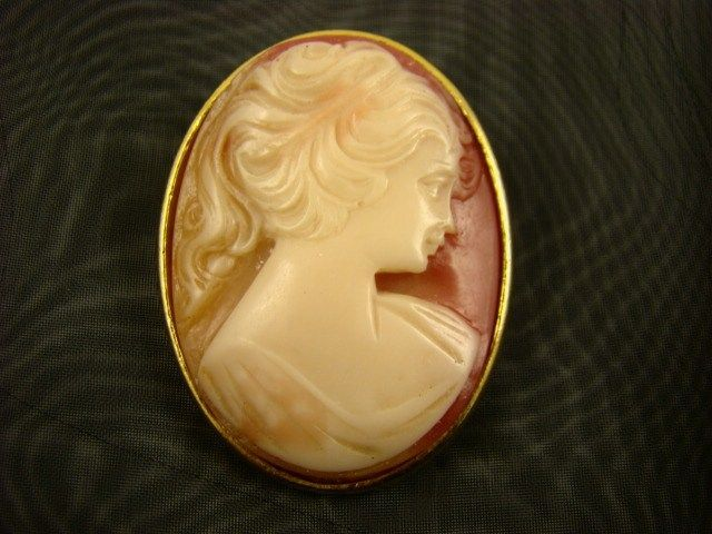 Lucite Cameo Brooch in Coral and Cream