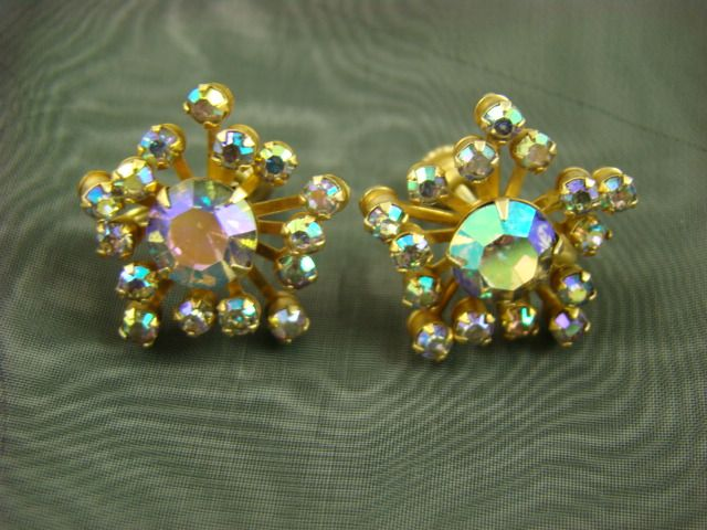 Glamourous 1950s Aurora Borealis Rhinestone Earrings ~Atomic