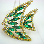 Emerald Green Navettes and Aurora Borealis Rhinestone Fish Brooch