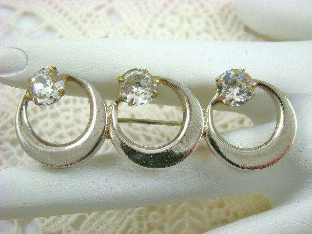 Sandor Triple Ring Brooch with Swarovski Crystals