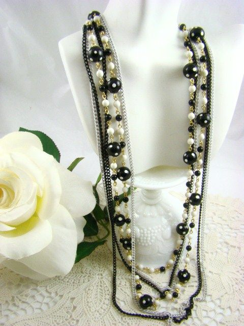 Alice Caviness 6-Strand Black &White Polka Dot Necklace