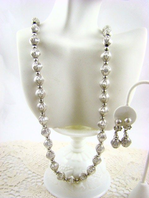 Whiting & Davis Satin Finish Silver Tone Necklace and Earrings