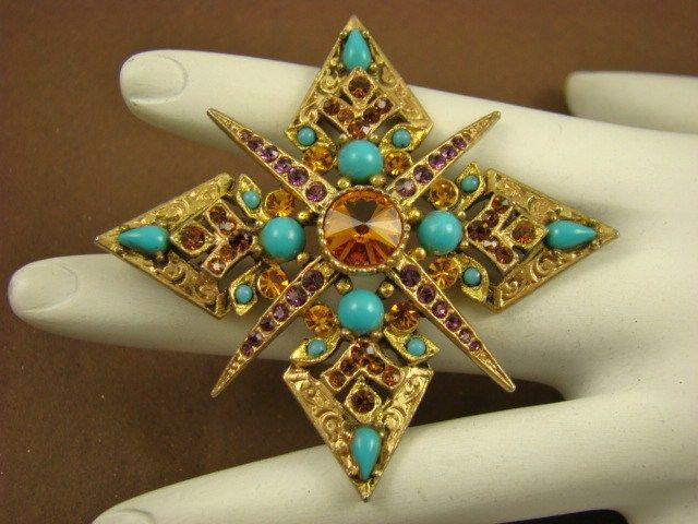 Renaissance Revival Inspired Brooch ~ Amethyst, Topaz, and Faux Turquoise Glass~ Art