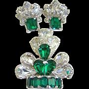 1940s Retro Eisenberg Emerald and Clear Rhinestone Fur Clip and Earrings