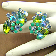 Stunning Blue and Green Rhinestone Earrings