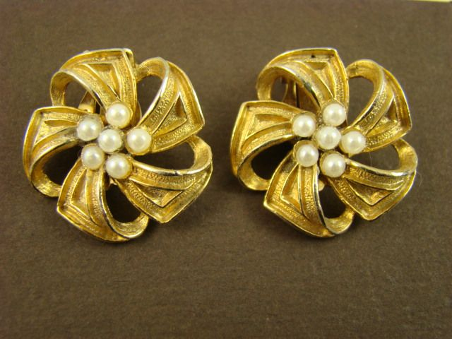 Wiesner Gold Tone Ribbon and Imitation Pearl Earrings