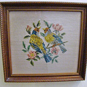 Old Framed Needlepoint Picture ~ Birds and Flowers
