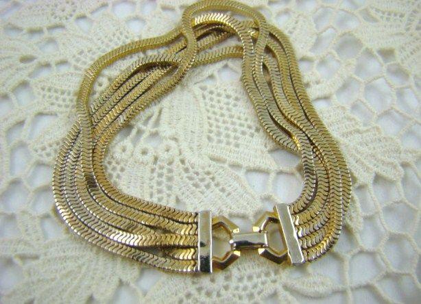 Multi-Strand Gold Tone Chain Bracelet