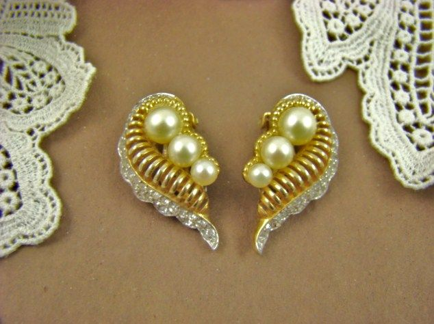 Jomaz Pave` Rhinestone and Imitation Pearl Earrings