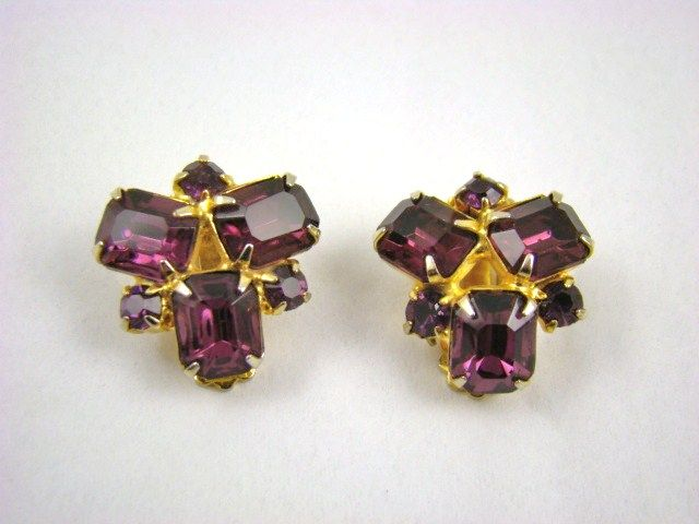 Deep, Dark Amethyst Rhinestone Earrings