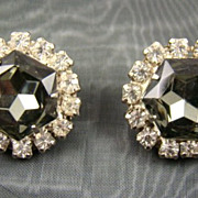 Black Diamond Rhinestone Evening Earrings
