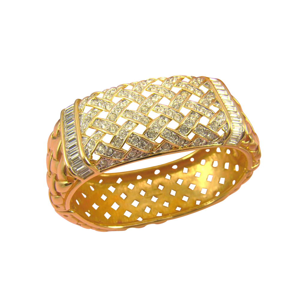 Pristine Swarovski Crystal SAL Wide Basketweave Bangle