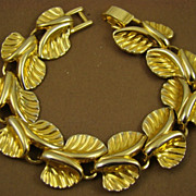 Detailed Gold Tone Leaf Bracelet
