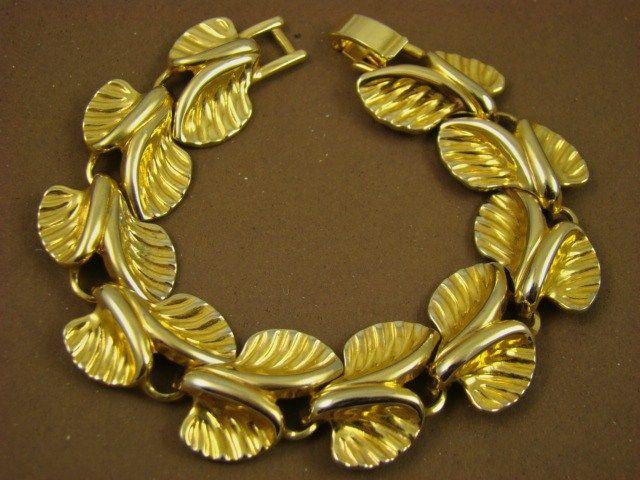 Detailed Gold Tone Leaf Bracelet