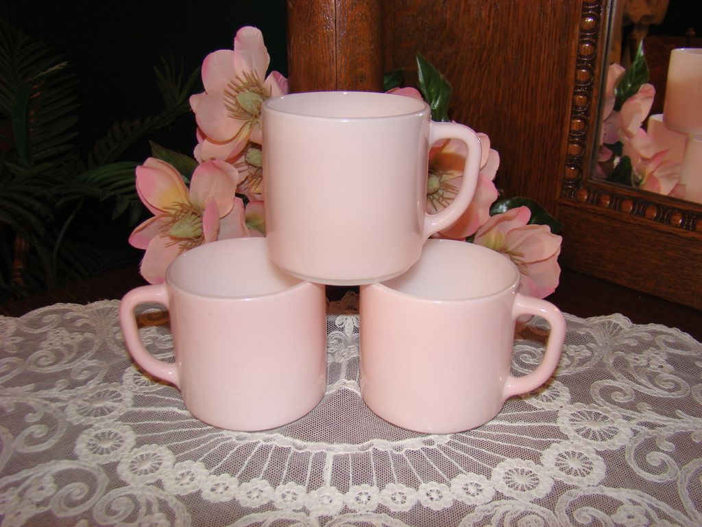 Three Soft Pastel Pink Federal Glass Mugs