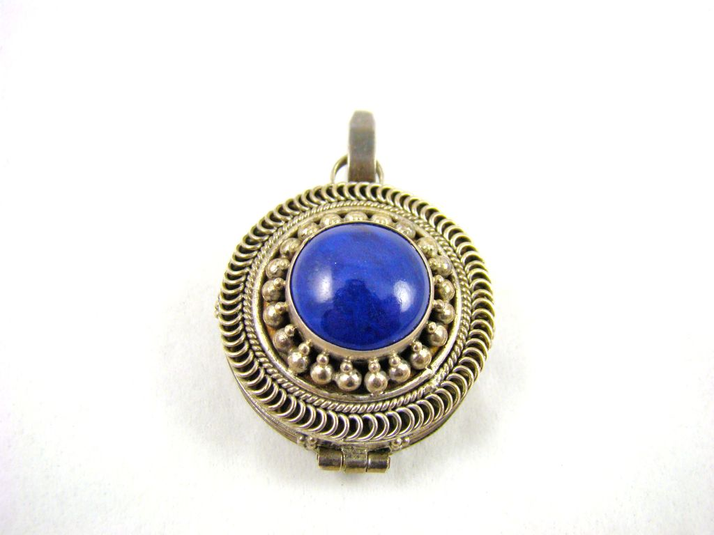 Old Sterling and Blue Lapis Pill Box Pendant