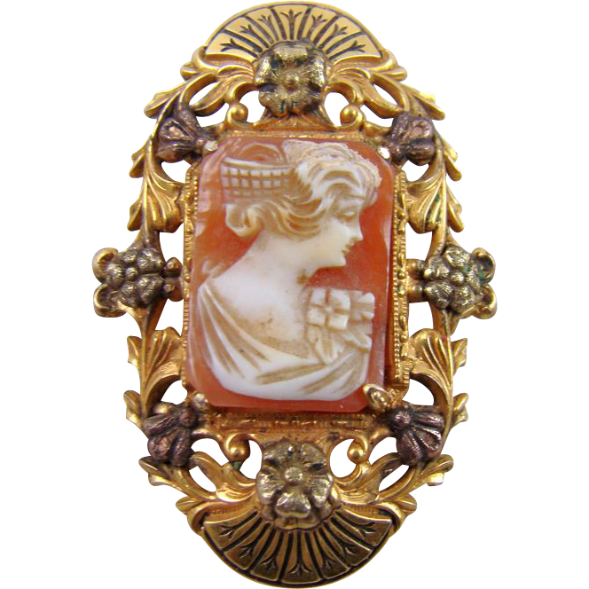 Elaborate Early 1900s 12Kt Gold Filled Cameo Brooch