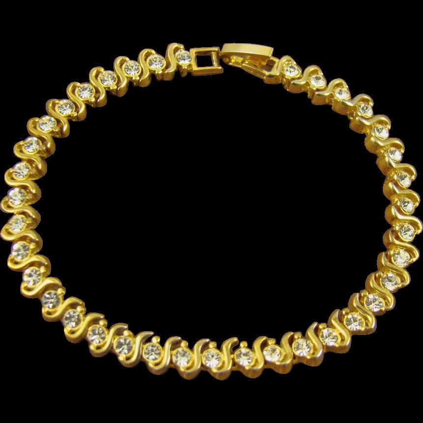 24Kt Gold Plated Rhinestone Tennis Bracelet