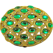 Art Deco Style Emerald Glass & Rhinestone Brooch by Bellini