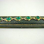 Emerald Green Simulated Star Sapphire Gold Plated Bracelet and Old Leather Case
