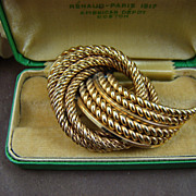 Grosse Germany Gold Plated Twisted Rope Brooch ~ 1967