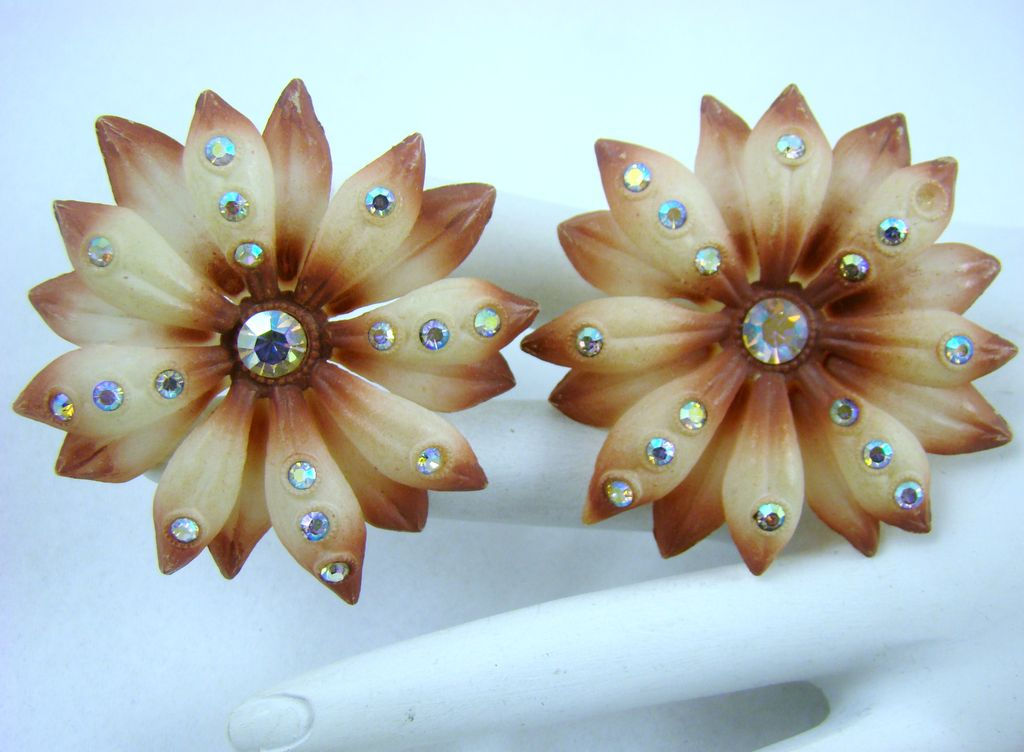 Stunning Old Celluloid Austrian Earrings with Aurora Borealis Rhinestones