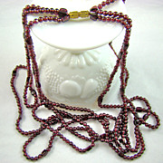 Garnet Bead Triple Strand Necklace